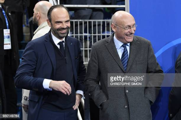 French Prime Minsiter Edouard Philippe French Rugby Federation President Bernard Laporte attend the Six Nations international rugby union match...