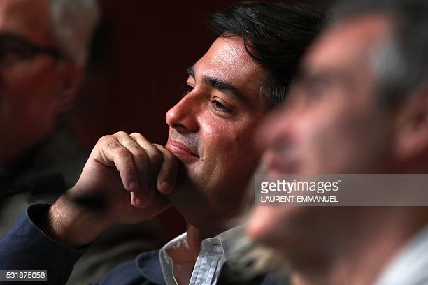 French producer Charles Gillibert attends on May 17 2016 a press conference for the film 'Personal Shopper' at the 69th Cannes Film Festival in...