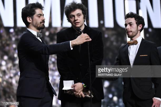 French producer Damien Megherbi, Turkish director Ayce Kartal and French producer and director Justin Pechberty speak after receiving the Best...