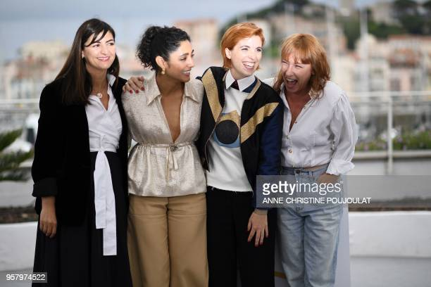 French producer Didar Domehri FrenchIranian actress Golshifteh Farahani French director Eva Husson and French actress Emmanuelle Bercot pose on May...