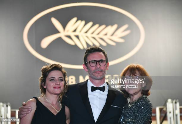 French producer Florence Gastaud French director Michel Hazanavicius and French actress/director and French director JeanLuc Godard's exwife Anne...