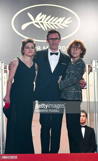 French producer Florence Gastaud French director Michel Hazanavicius and French actress/director and Swiss director JeanLuc Godard's exwife Anne...