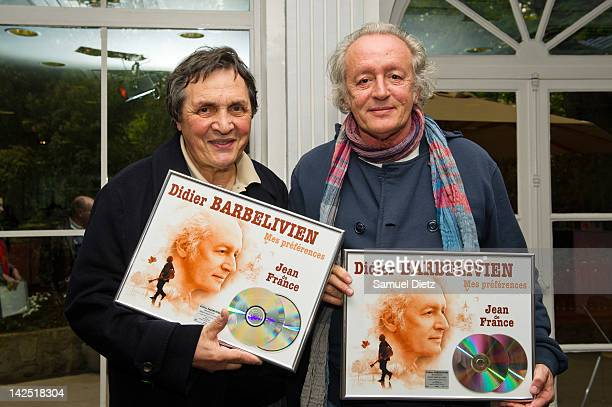 French producer Humbert Ibach and Didier Barbelivien attend Barbelivien's double platinum award ceremony for selling over 200000 copies of his latest...