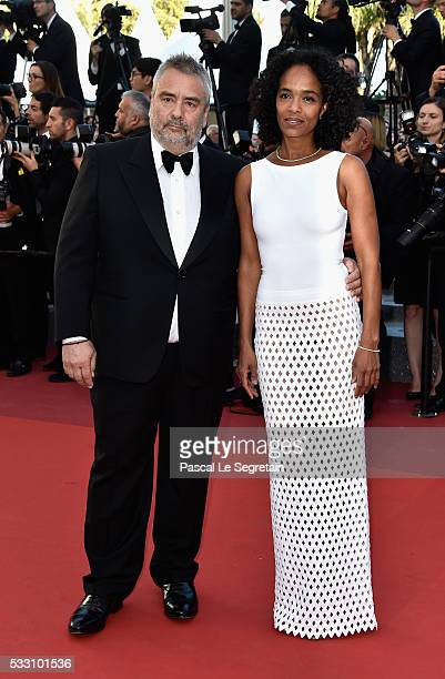 French producer Luc Besson and wife Virginie Silla attend 'The Last Face' Premiere during the 69th annual Cannes Film Festival at the Palais des...