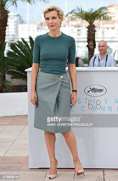 French producer Melita Toscan du Plantier poses during a photocall for the film 'Masaan' at the 68th Cannes Film Festival in Cannes southeastern...
