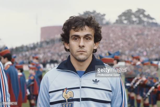 French professional footballer and captain of the France national football team Michel Platini pictured during the playing of the national anthems...