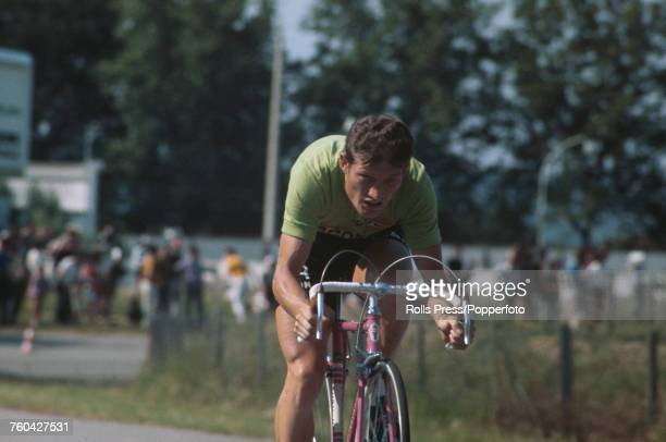 French professional road race cyclist Cyrille Guimard pictured competing in an individual time trial stage for the Mercier team during the 1971 Tour...