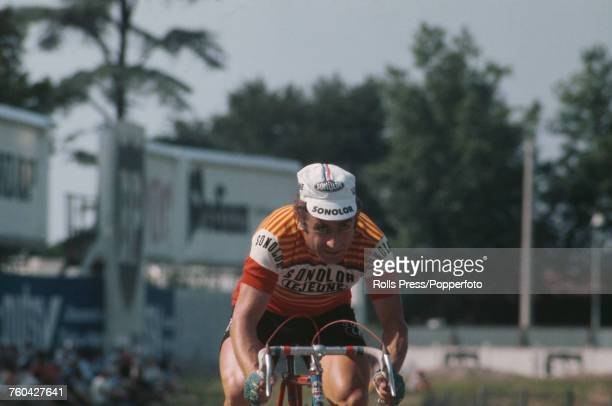 French professional road race cyclist Lucien Aimar pictured competing in an individual time trial stage for the SolonorLejeune team during the 1971...