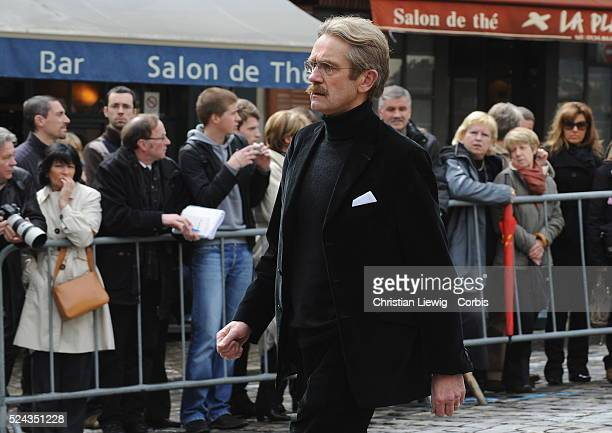 French Professional Soccer League President Frederic Thiriez attends the funeral of Thierry Gilardi in Montfort l'Amaury