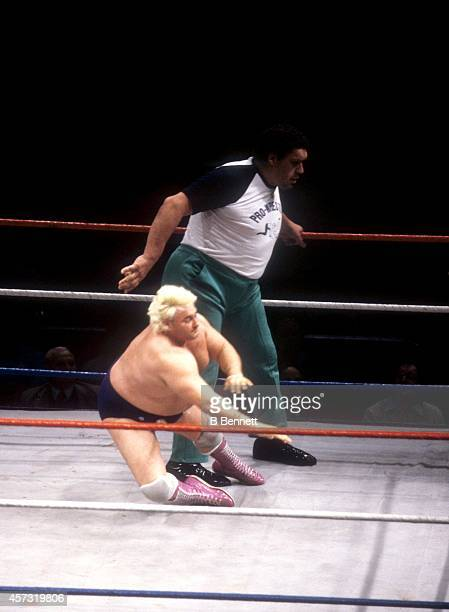French professional wrestler and actor Andre the Giant stands in the ring as a special guest referee accidently trips Adrian Adonis during the match...