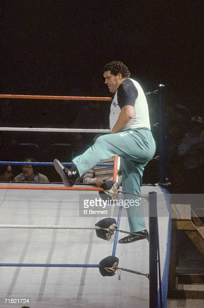 French professional wrestler and actor Andre the Giant steps over the ropes into the ring as a special guest referee for Rowdy Roddy Piper and Adrian...