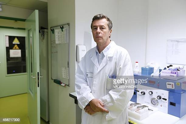 French professor Paul Hofman poses in his service the Laboratory of Clinical and Experimental Pathology and tumor hospital integrated Biobank on...