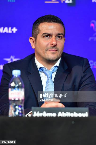 French promoter Jerome Abiteboul during the press conference and weigh in on April 6 2018 in Paris France