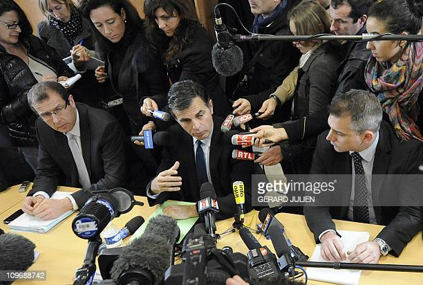 French prosecutor Jacques Dallest speaks near Swiss ministry prosecutor Pascal Gillieron during a press conference on February 16 2011 in Marseille...