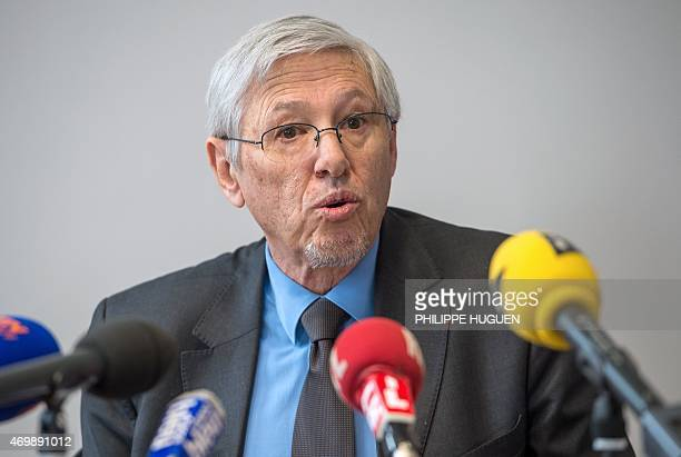French prosecutor JeanPierre Valensi talks on April 16 2015 during a press conference at the courthouse in BoulognesurMer northern France after a...