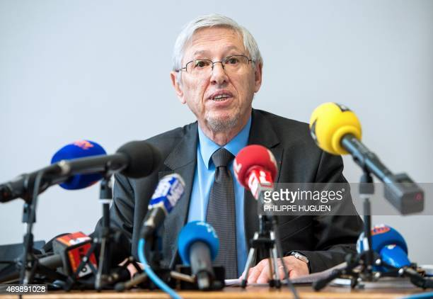 French prosecutor Jean-Pierre Valensi talks on April 16, 2015 during a press conference at the courthouse in Boulogne-sur-Mer, northern France, after...