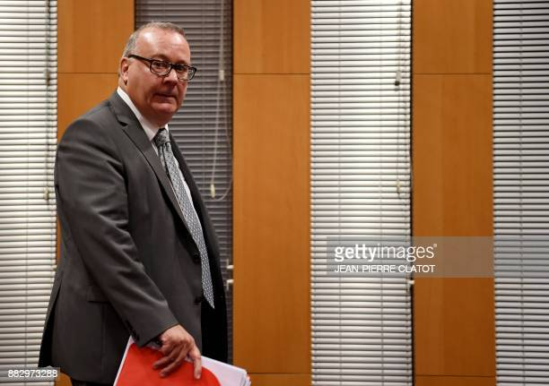 French prosecutor JeanYves Coquillat arrives to address a press conference at the Grenoble's courthouse on November 30 2017 following the audition of...
