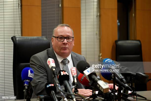 French prosecutor JeanYves Coquillat speaks during a press conference at the Grenoble's courthouse on November 30 2017 following the audition of the...