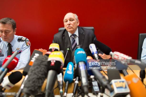 French prosecutor Patrick Quincy, who is leading the inquiry into Michael Schumacher's skiing accident, responds to journalist's questions during a...