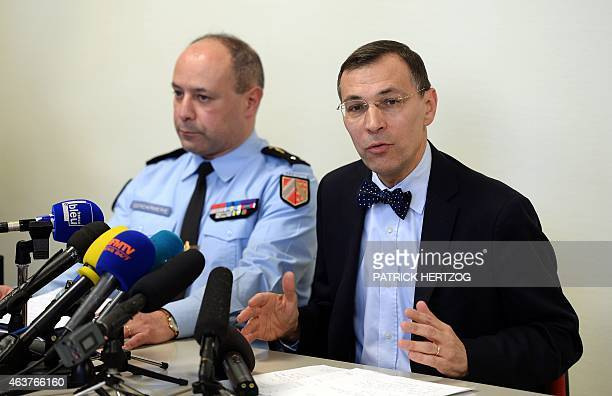 French prosecutor Philippe Vannier gives a press conference at the courthouse in Saverne eastern France on February 18 2015 following the desecration...