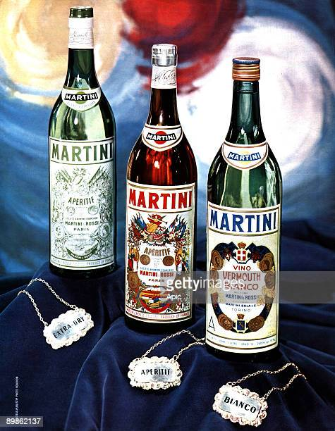 French publicite for the alcohol by the brand Martini extradry aperitif drink and Vermouth bianco publishing during 1970's