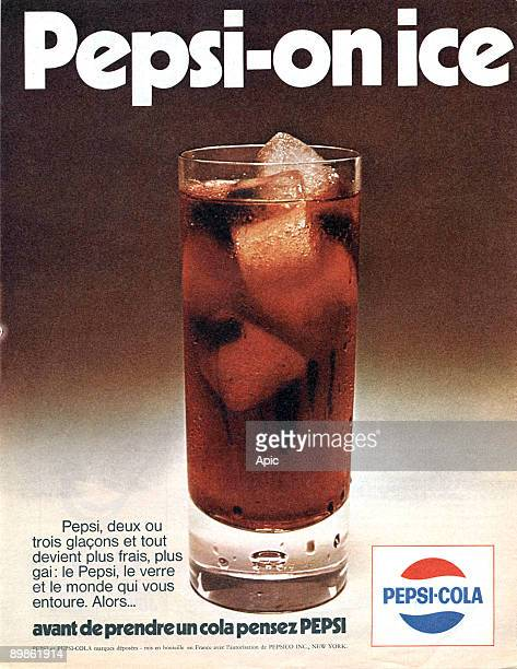 French publicity for the soda Pepsi-cola publishing during 1970's