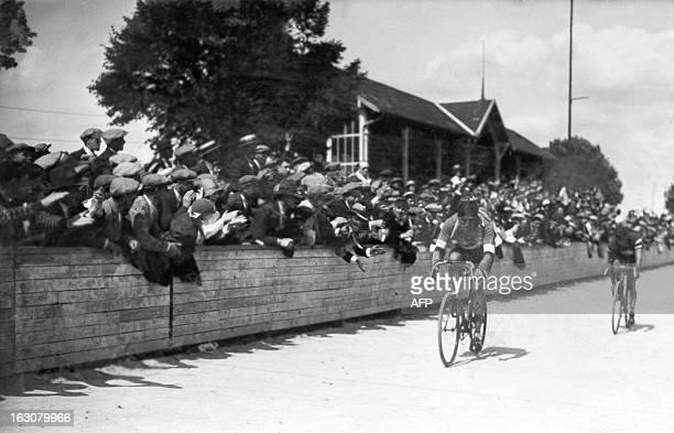 French racing cyclist Charles Pelissier, jellow jersey and winner of the 1st stage Paris-Caen of the 24th Tour de France, arrives in Caen, on July 2,...