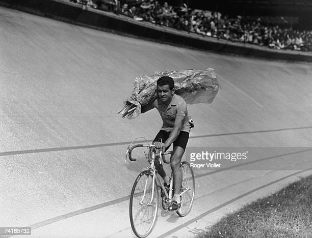 French racing cyclist Roger Walkowiak winner of the 1956 Tour de France at Parc des Princes 28th July 1956