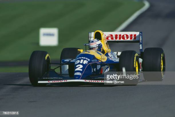 French racing driver Alain Prost drives the Canon Williams Renault Williams FW15C Renault V10 to finish in third place in the 1993 European Grand...