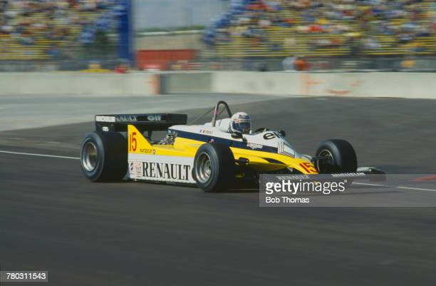 French racing driver Alain Prost drives the Equipe Renault Elf Renault RE30 Renault V6t to finish in 2nd place in the 1981 Caesars Palace Grand Prix...