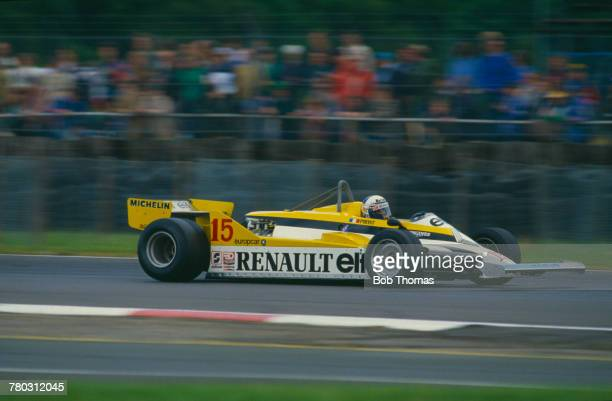 French racing driver Alain Prost drives the Equipe Renault Elf Renault RE30 Renault V6t in the 1981 British Grand Prix at Silverstone Circuit in...