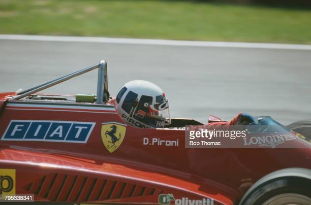 French racing driver Didier Pironi drives the Scuderia Ferrari Ferrari 126C2 Ferrari V6T to finish in 2nd place in the 1982 British Grand Prix at...