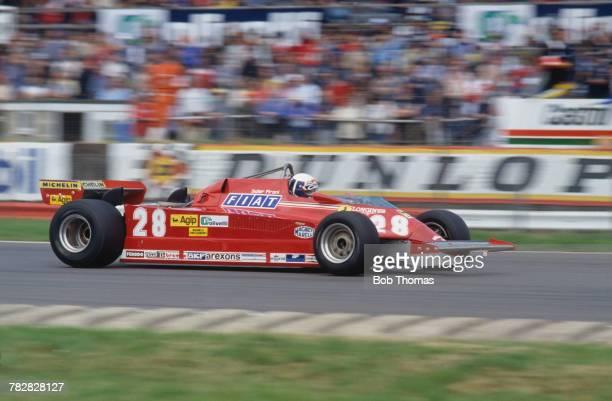French racing driver Didier Pironi drives the Scuderia Ferrari Ferrari 126CK Ferrari V6T in the 1981 British Grand Prix at Silverstone Circuit in...