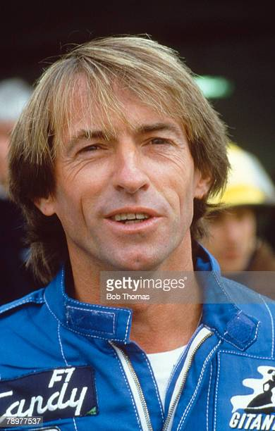 French racing driver Jacques Laffite driver of the Equipe Ligier Gitanes Ligier JS25 Renault EF4B 15 V6t pictured at a motor racing circuit during...