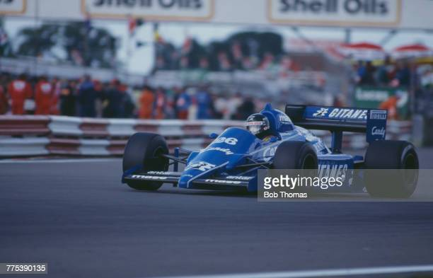 French racing driver Jacques Laffite drives the Equipe Ligier Gitanes Ligier JS25 Renault EF4B 15 V6t to finish in 3rd place in the 1985 British...