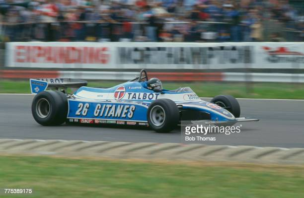 French racing driver Jacques Laffite drives the Equipe Talbot Gitanes Ligier JS17 Matra MS81 30 V12 to finish in 3rd place in the 1981 British Grand...