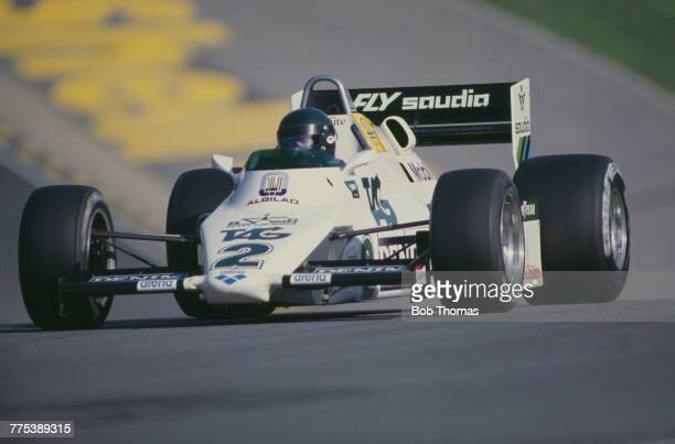 French racing driver Jacques Laffite drives the TAG Williams Williams FW08C Ford Cosworth DFV 30 V8 during qualification for the 1983 European Grand...