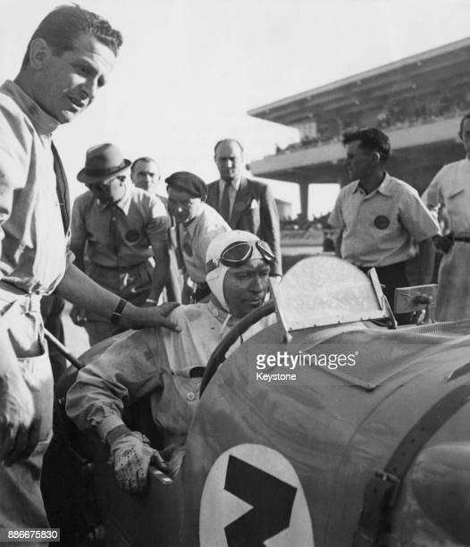 French racing driver Marius Eugène Chaboud at the wheel of his Delahaye sports car during the 24 Hours of Le Mans race in France 26th June 1949 He...