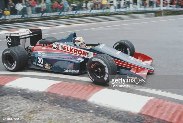 French racing driver Philippe Alliot drives the Larrousse Calmels Lola LC87 Cosworth V8 to finish in 8th place in the 1987 Belgian Grand Prix at...