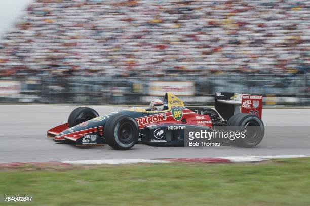 French racing driver Philippe Alliot drives the Larrousse Calmels Lola LC88 Cosworth V8 in the 1988 Brazilian Grand Prix at the Autodromo...