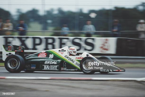 French racing driver Philippe Alliot drives the Skoal Bandit Formula 1 Team RAM 03 Hart Straight4 in the 1985 British Grand Prix at Silverstone...