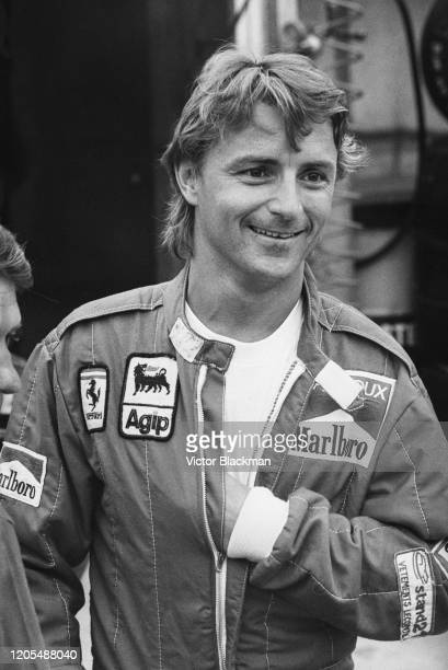 French racing driver René Arnoux of Scuderia Ferrari during the British Grand Prix Qualifying at Brands Hatch Circuit, UK, 21st July 1984.