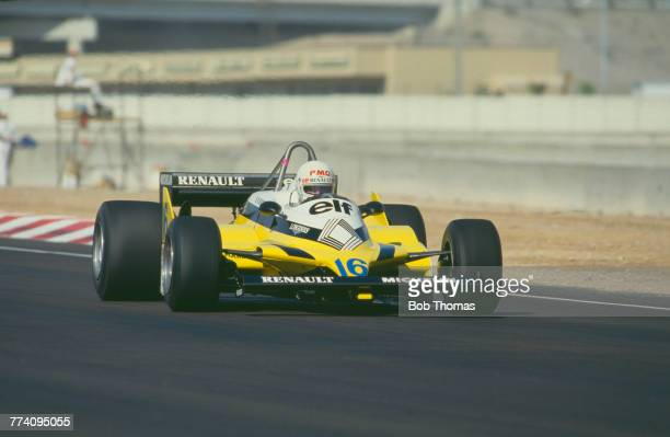 French racing driver Rene Arnoux drives the Equipe Renault Elf Renault RE30 Renault-Gordini EF1 1.5 V6t in the 1981 Caesars Palace Grand Prix in Las...