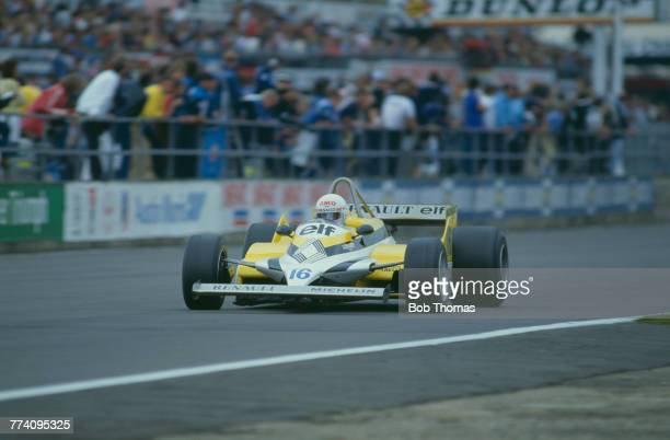 French racing driver Rene Arnoux drives the Equipe Renault Elf Renault RE30 RenaultGordini EF1 15 V6t to finish in 9th place in the 1981 British...