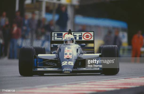French racing driver Rene Arnoux drives the Ligier Loto Ligier JS29B Megatron M12/M13 15 L4t to finish in 6th place in the 1987 Belgian Grand Prix at...