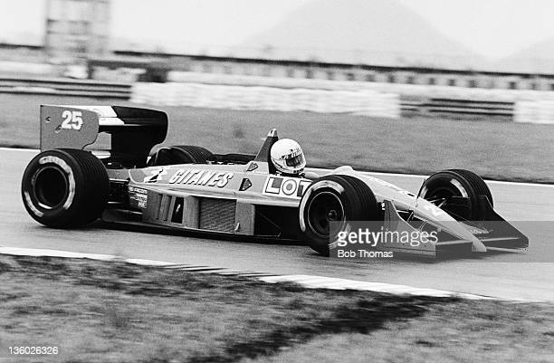 French racing driver Rene Arnoux drives the Ligier Loto Ligier JS31 Judd CV 35 V8 in the 1988 Brazilian Grand Prix in Rio de Janeiro Brazil on 3rd...