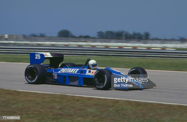 French racing driver Rene Arnoux drives the Ligier Loto Ligier JS31 Judd CV 35 V8 in the 1988 Brazilian Grand Prix at the Autodromo Internacional...