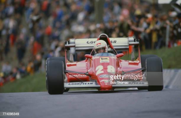 French racing driver Rene Arnoux drives the Scuderia Ferrari SpA SEFAC Ferrari 126C2B Ferrari 021 1.5 V6t in the 1983 Race of Champions at Brands...