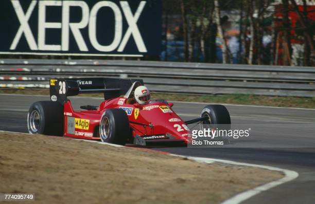 French racing driver Rene Arnoux drives the Scuderia Ferrari SpA SEFAC Ferrari 126C4 Ferrari 031 1.5 V6t to finish in 3rd place in the 1984 Belgian...