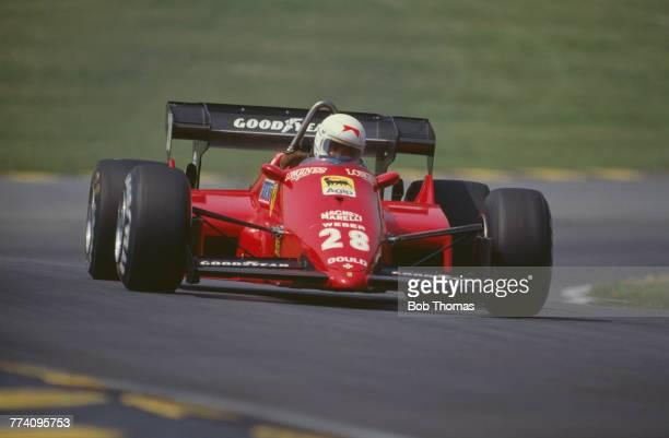 French racing driver Rene Arnoux drives the Scuderia Ferrari SpA SEFAC Ferrari 126C4 Ferrari 031 1.5 V6t to finish in 6th place in the 1984 British...